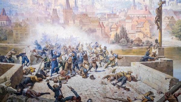 Češi si někdy malují historii, jak se jim hodí. Dioráma Švédové na Karlově mostě od bratří Liebscherů z roku 1891 dominuje bludišti na Petříně.
