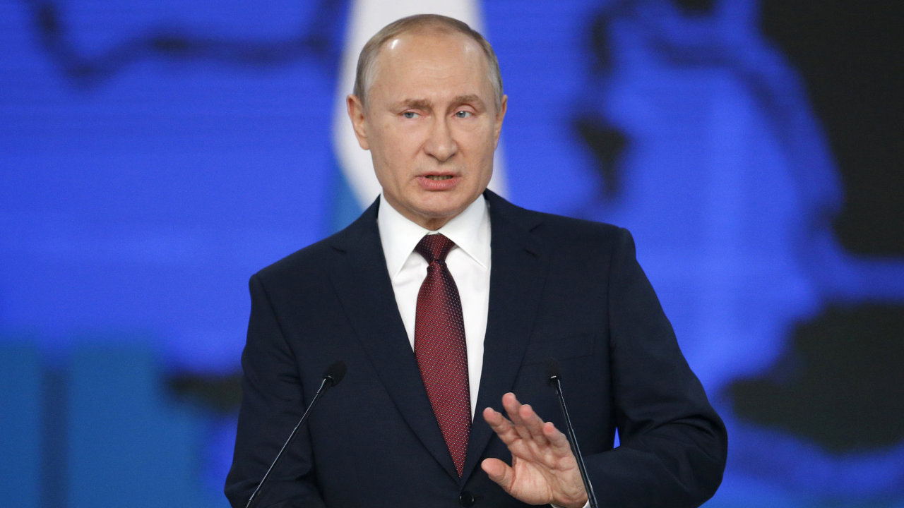 Russian President Vladimir Putin delivers a state-of-the-nation address in Moscow