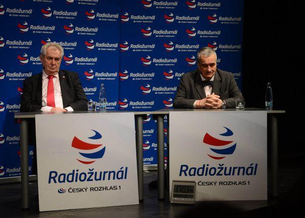 Miloš Zeman a Karel Schwarzenberg v debatě ČRo 1 - Radiožurnálu