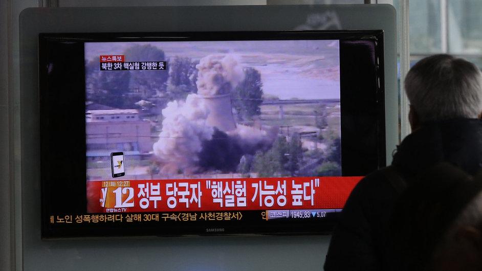 Jihokorejci sledují zprávy o jaderném testu v KLDR