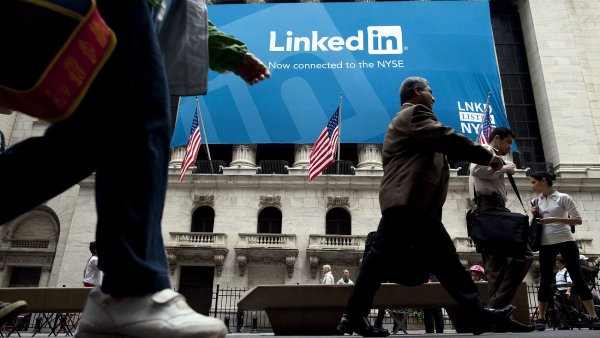 Reklama na LinkedIn na newyorské burze.