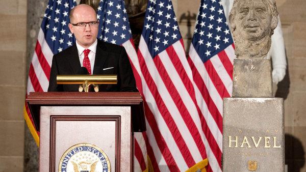 Premiér vkongresu:Před rokem a půl odhalil Bohuslav Sobotka vbudově amerického kongresu bustu Václava Havla.