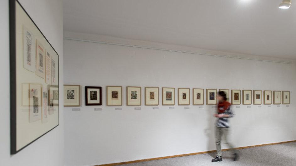 Snímek z výstavy ex libris Josefa Váchala v Domě U Rytířů v Litomyšli.