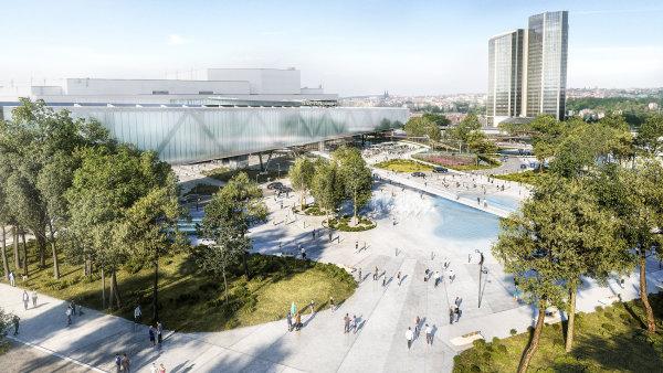 Vizualizace od španělské kanceláře OCA ukazuje budoucí podobu rozšíření Kongresového centra v Praze.