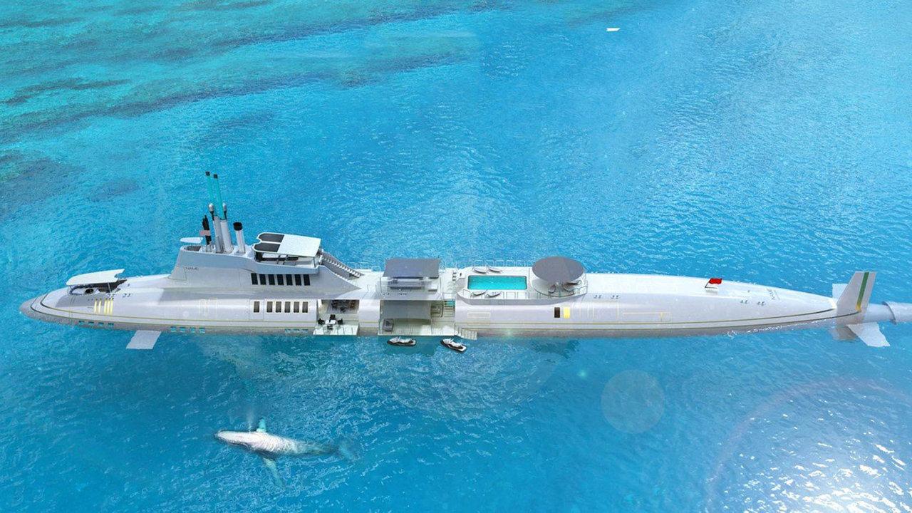 Vrchol luxusu. Více než 200 metrů dlouhá ponorka od rakouské společnosti Migaloo vyjde na několik miliard dolarů. Majitel v ní má k dispozici apartmá o velikosti 2000 metrů čtverečních.