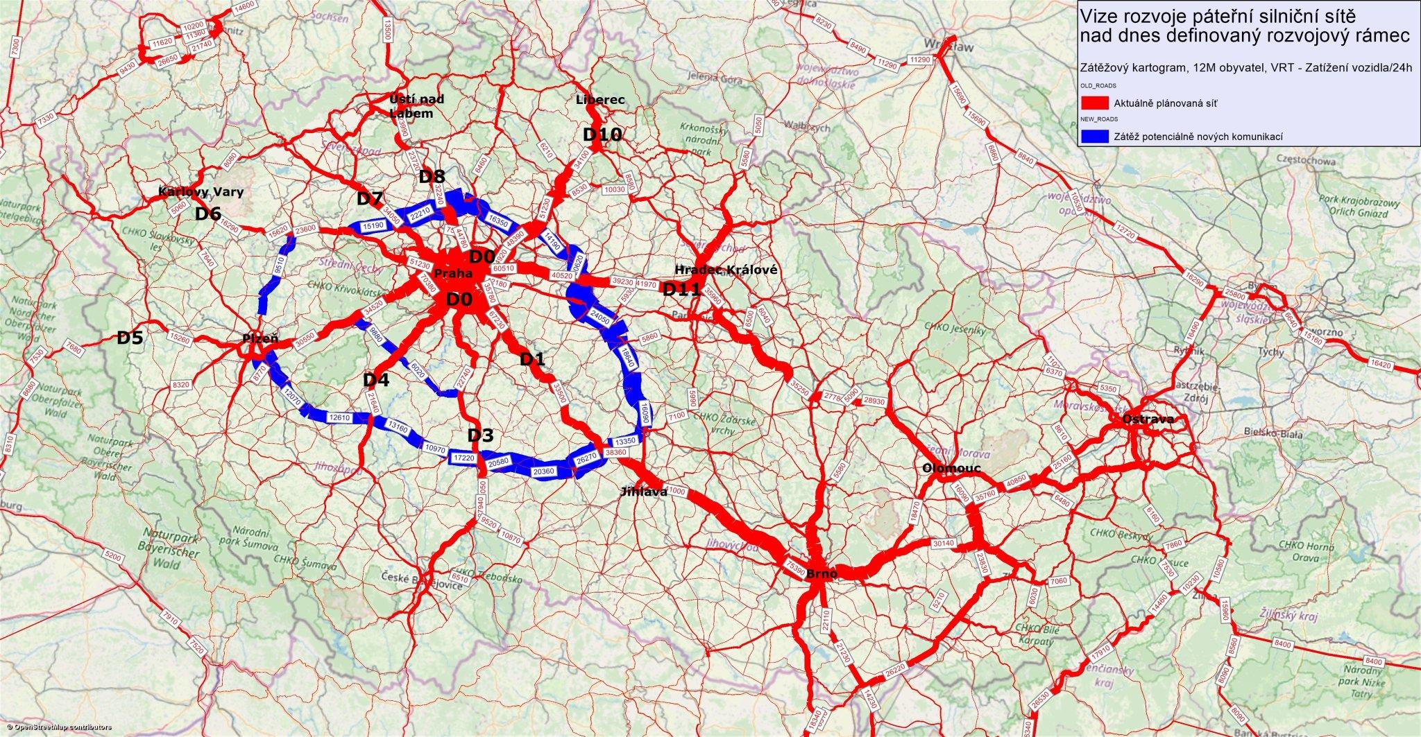 Vize rozvoje páteřní silniční sítě nad dnes definovaný rozvojový rámec