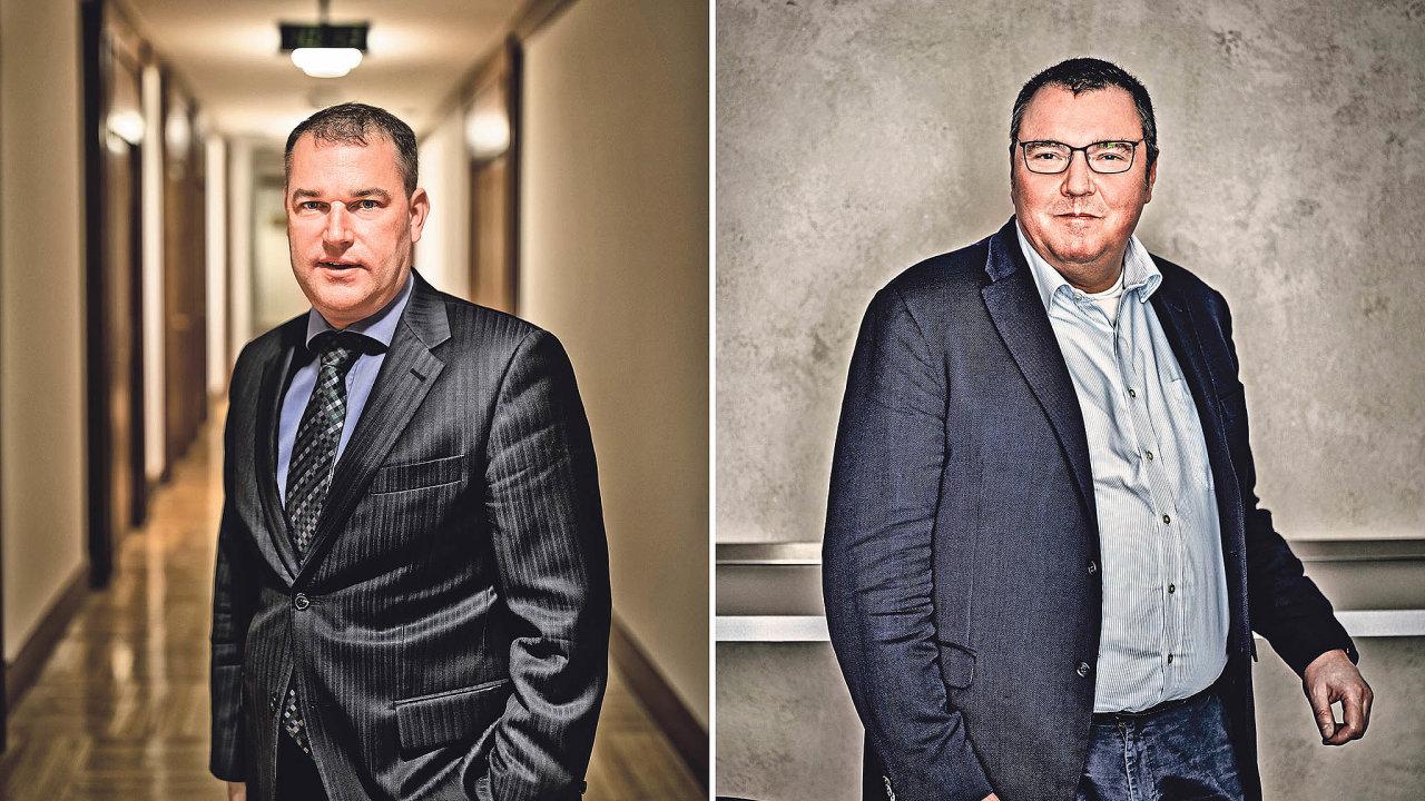 Viceguvernér Mojmír Hampl (vlevo) a guvernér Miroslav Singer rozhodli o uskutečnění intervencí ČNB.