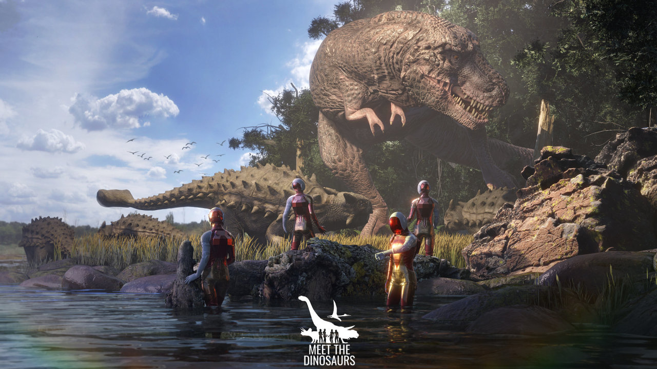 Ukázka ze hry Dinosauři VR od české firmy DIVR Labs. Hráči se pohybují v labyrintu z překližek, který se pomocí virtuální reality mění v pravěkou krajinu.