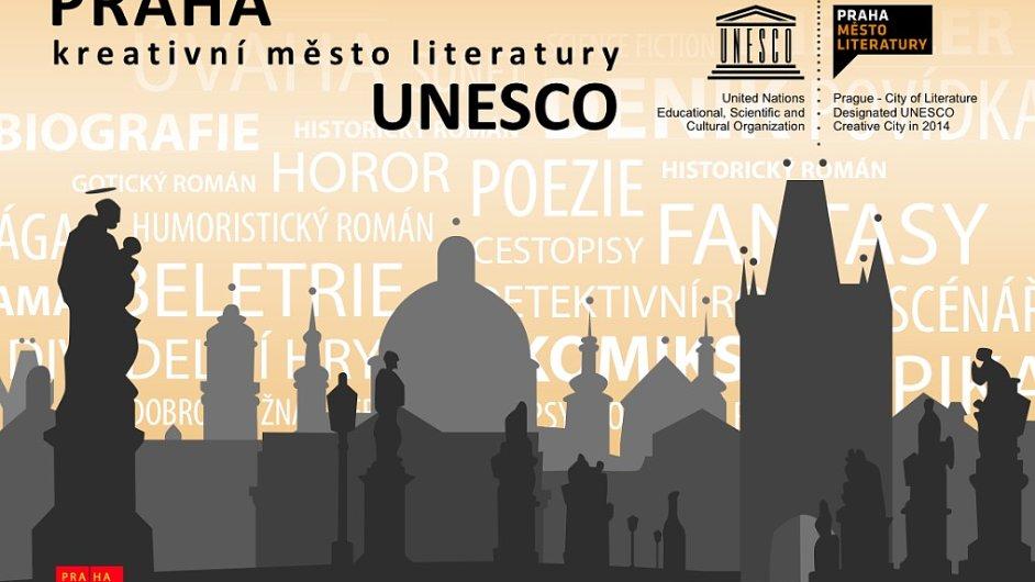 Na snímku oficiální plakát k projektu Praha - kreativní město literatury UNESCO.