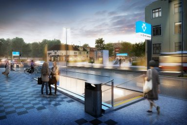 Vizualizace stanice Olbrachtova na nové trase metra D