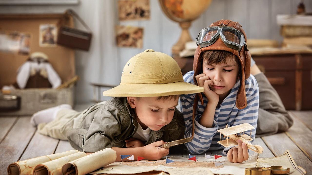 dítě, děti, lupa, mapa, historie