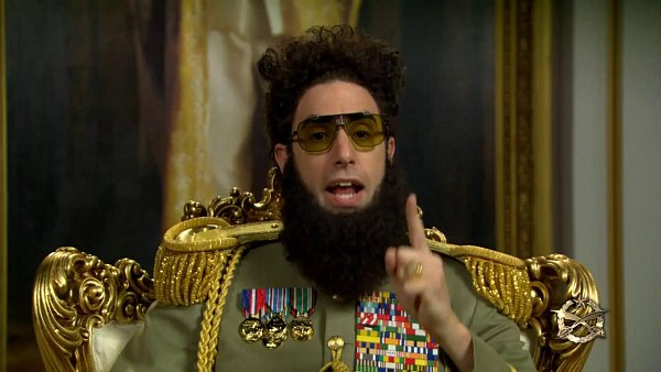 Sasha Baron Cohen jako diktátor.