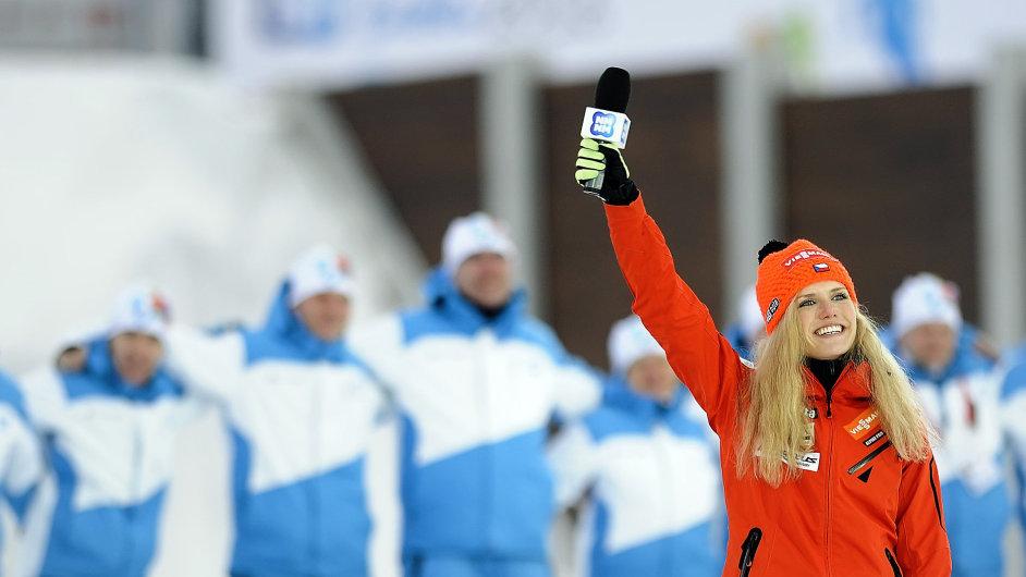 Gabriela Soukalová na závěr šampionátu zazpívala