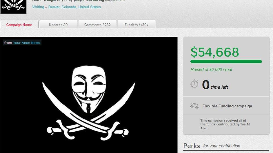 Projekt Your Anon News vybral na Indiegogo.com už skoro 55 tisíc dolarů.