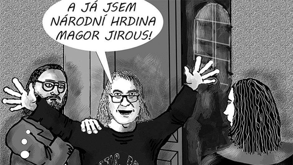 Ivan Martin Jirous řečený Magor v podání kreslíře Mariana Cingroše