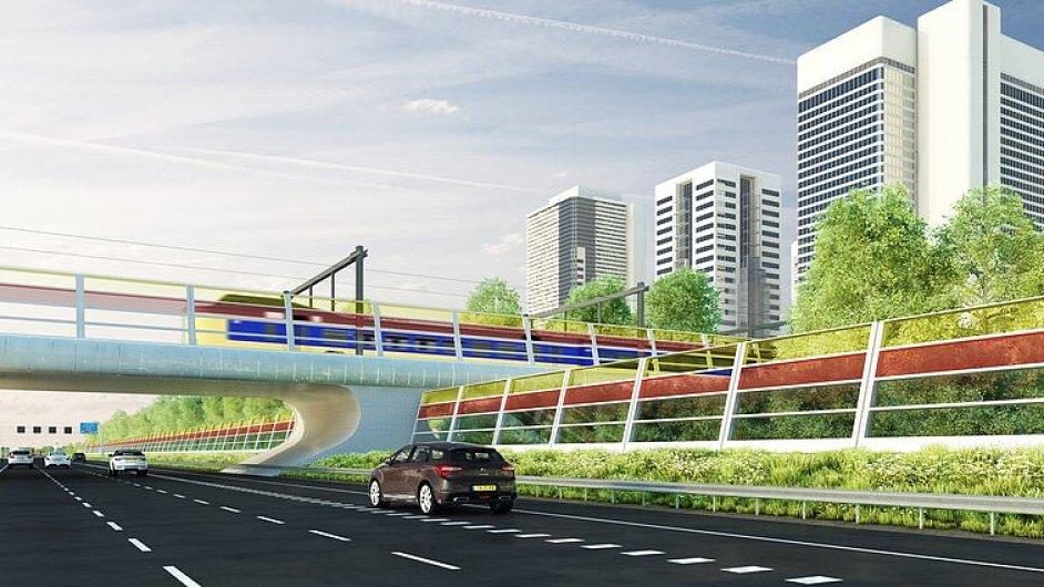 Takto bude vypadat dálnice se solárními protihlukovými stěnami, vizualizace