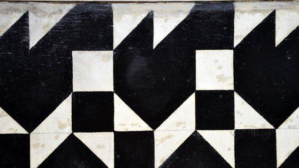 Zdeněk Sýkora: Černobílá struktura, olej na plátně, 1966 až 1967