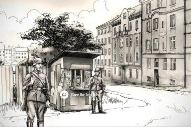 """Se hrou Attentat 1942 Univerzita Karlova vesvětě bodovala. Nauvedeném snímku má hráč kliknout naobrázek snápisem """"rozdávej letáky"""", načež se pak dozví, jak vypadaly letáky zaprotektorátu."""
