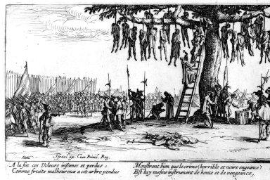 Reprodukce rytiny snázvem Věšení pochází zcyklu francouzského výtvarníka Jacquese Callota Velká válečná utrpení.