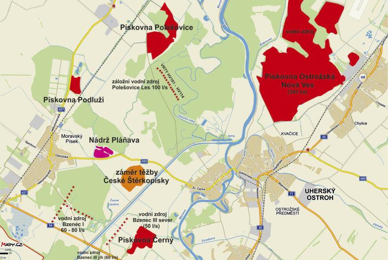 Těžba štěrkopísků a vodní zdroje u Uherského Ostrohu