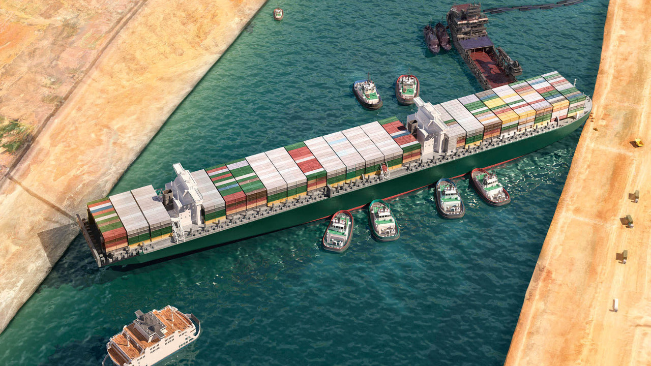 Takto skončila pouť 400 metrů dlouhé kontejnerové lodi při plavbě odrudomořského Port Saidu směrem kVelkému hořkému jezeru. Vtéto části kanálu je jednosměrný provoz.