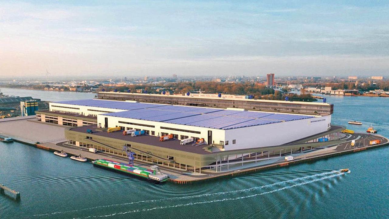 Vizualizace logistického centra v amsterdamské čtvrti Western Docklands.