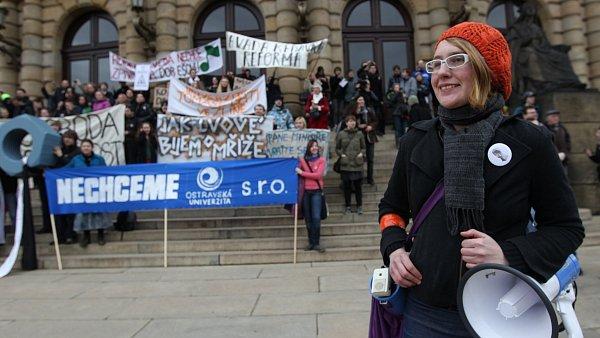 Studenti protestují proti reformě vysokých škol, ilustrační foto