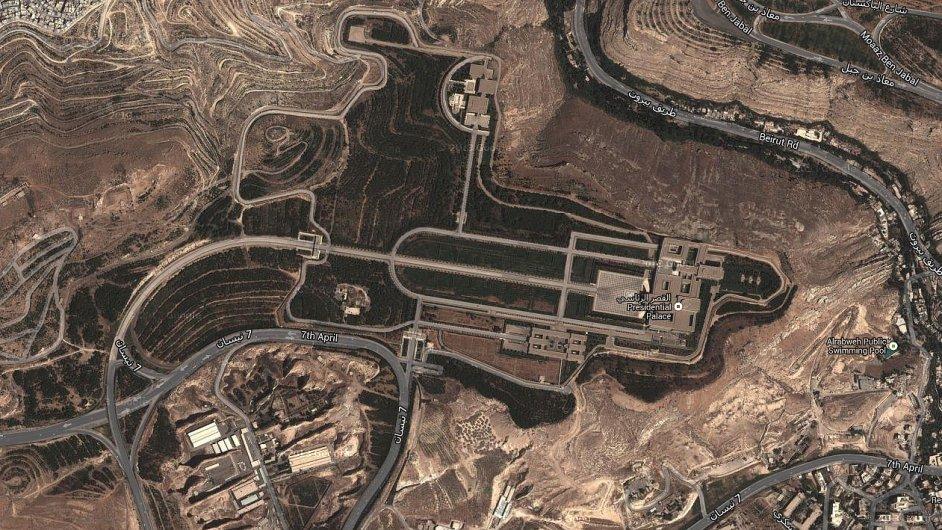 Satelitní snímek prezidentského paláce v Sýrii