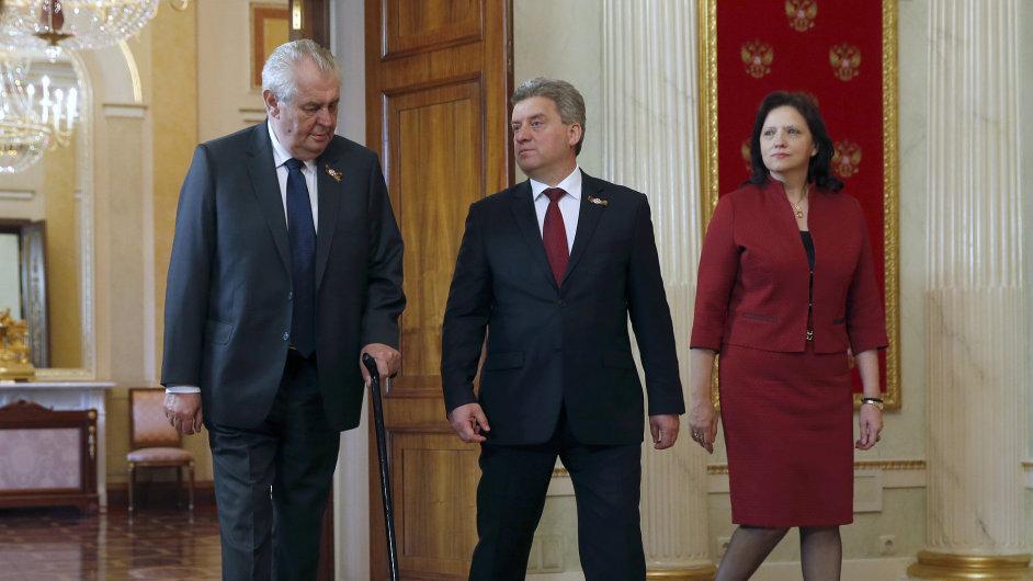 U příležitosti oslav se prezident Miloš Zeman v Kremlu setkal s makedonským prezidentem Djorgem Ivanovem a jeho manželkou