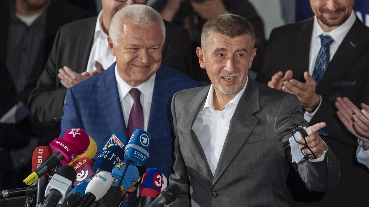 Špičky hnutí ANO: Předseda poslaneckého klubu Jaroslav Faltýnek a premiér Andrej Babiš.