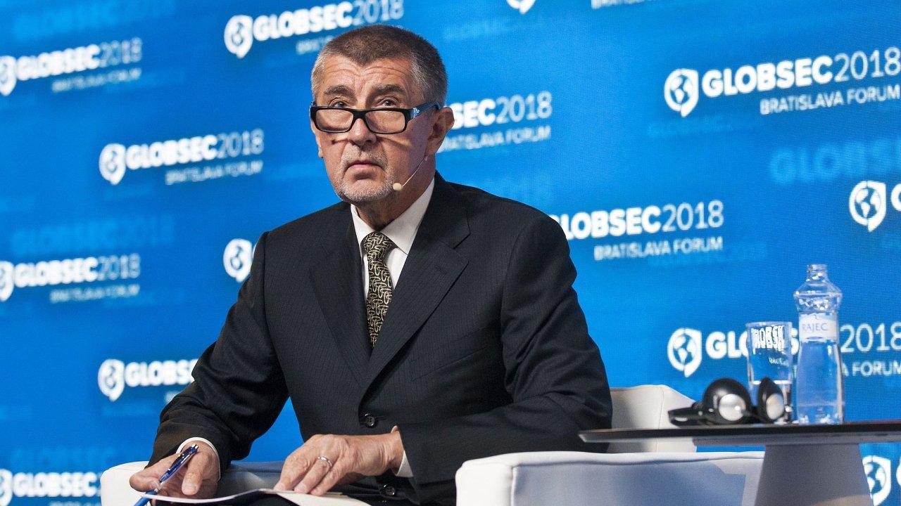 Premiér v demisi Andrej Babiš na mezinárodní bezpečnostní konferenci Globsec v Bratislavě.