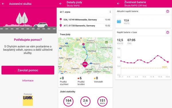 Vzhled aplikace Chytré auto od T-Mobile