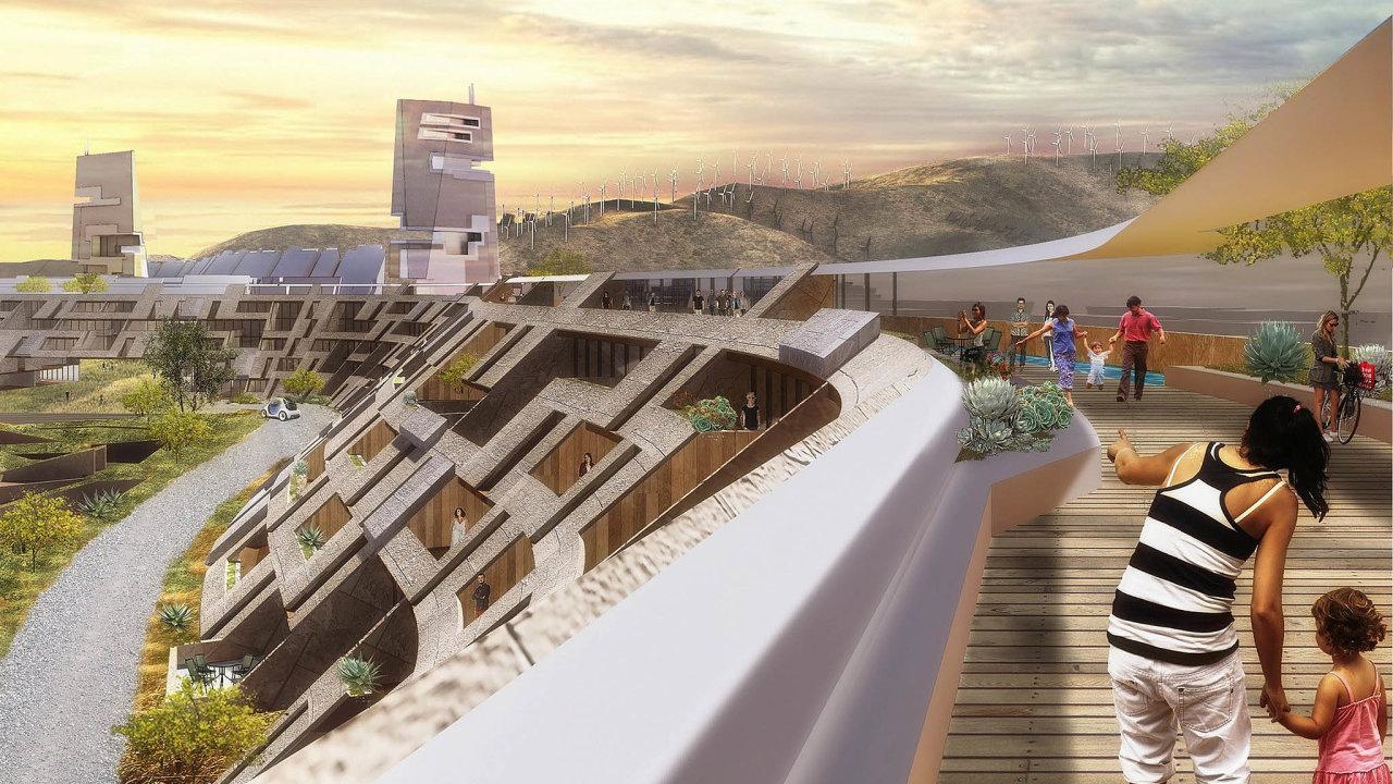 Podobu města Město Painted Rock, které vyroste v nevadské poušti, už navrhují architekti. Takhle by mohlo vypadat podle studia Ehrlich Yanai Rhee Chaney Architects.