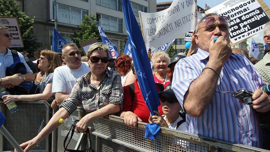 Protest odborů. Ilustrační foto