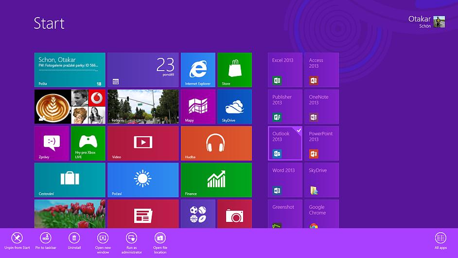 Hlavní nabídka Windows 8