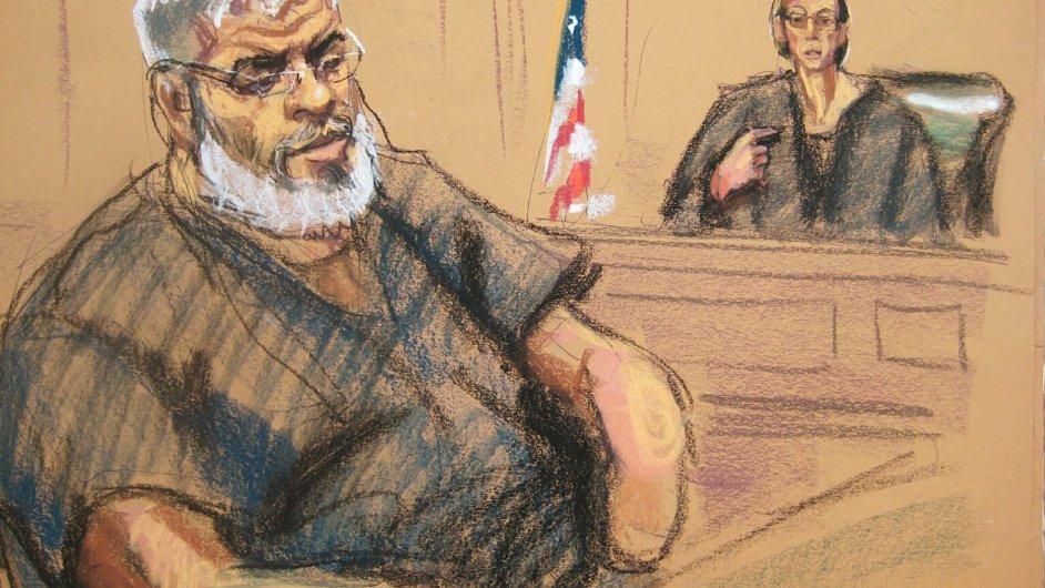 Soudní skica radikálního duchovního abú Hamza Masrího, který byl v USA odsouzen na doživotí.