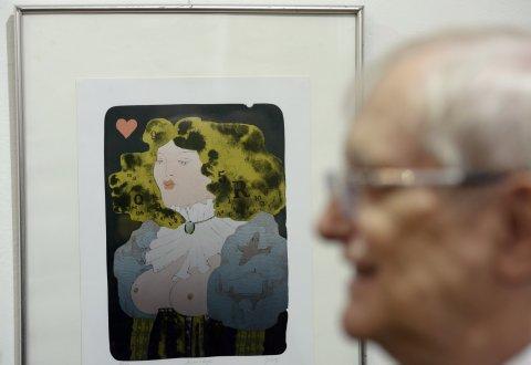 Snímek z výstavy Suchého a Šlitra v galerii Hollar.