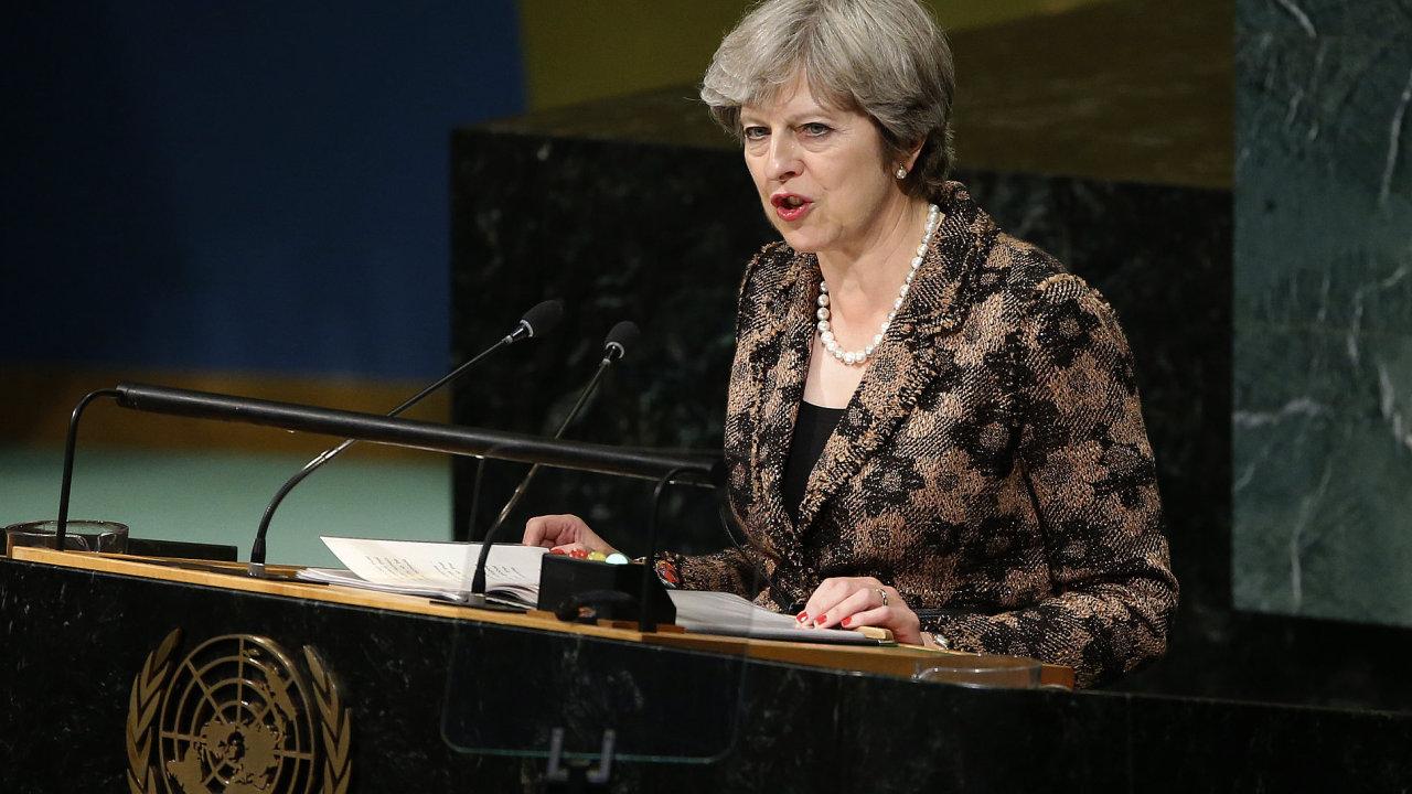 Britská premiérka Theresa Mayová při projevu na zasedání Valného shromáždění OSN.