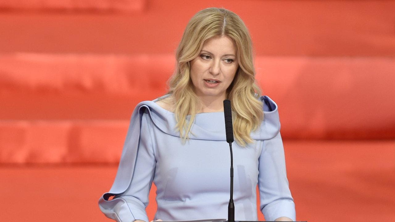 Nová slovenská prezidentka Zuzana Čaputová při své inaugurační řeči na slavnostní schůzi slovenské sněmovny 15. června 2019 v Bratislavě.