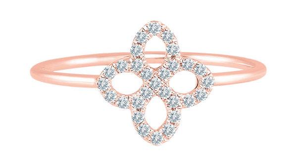 Česká klenotnická značka ALOve je mladší sestrou ALO diamonds. Prsten zrůžového zlata je součástí jarní květinové kolekce azáří jasněji než první sluneční paprsky díky diamantovému osázení. Cena 11 600 Kč, prodává ALOVE.