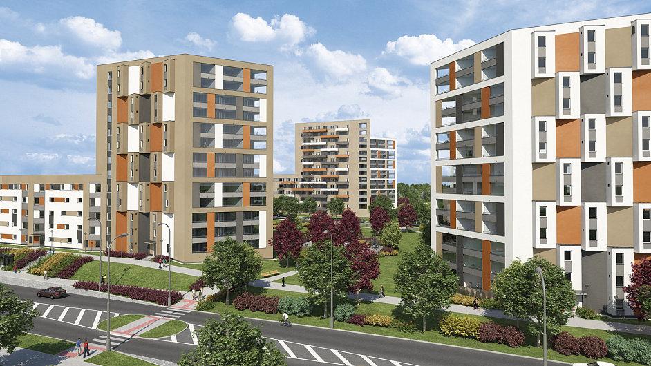 Vizualizace bytového projektu firmy Central Group v Horních Měcholupech