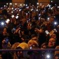 Protesty proti internetov� dani v Budape�ti.