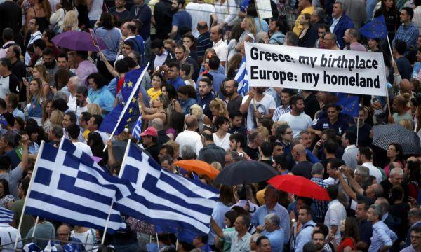 Proevropský protest v Aténách