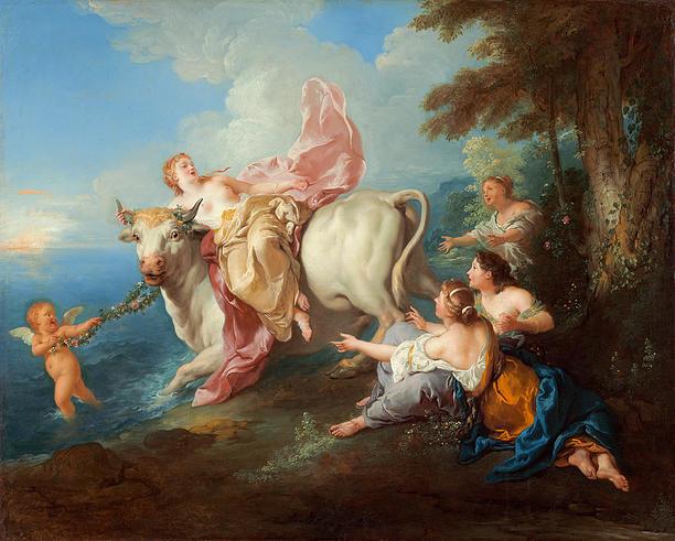 Evropa unášena býkem od Jeana Françoise de Troy (1716)