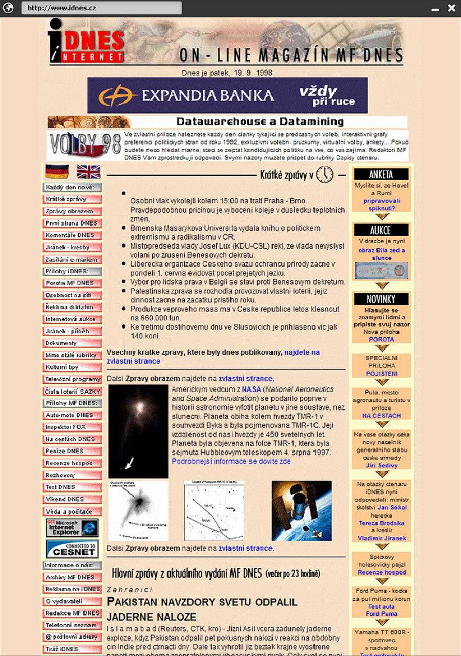iDnes v roce 1998