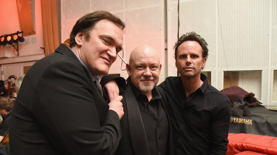 Na snímku režisér Quentin Tarantino, trumpetista Jan Hasenöhrl a herec Walton Goggnis.