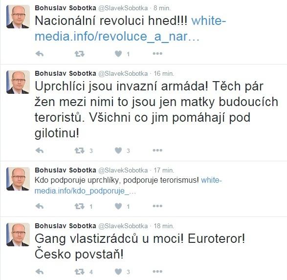 Screenshot z hacknutého účtu na Twitteru Bohuslava Sobotky