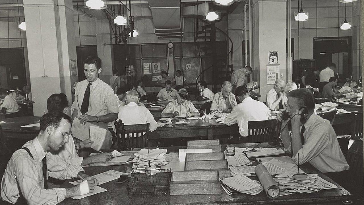 Newsroom deníku New York Times, srpen 1942.