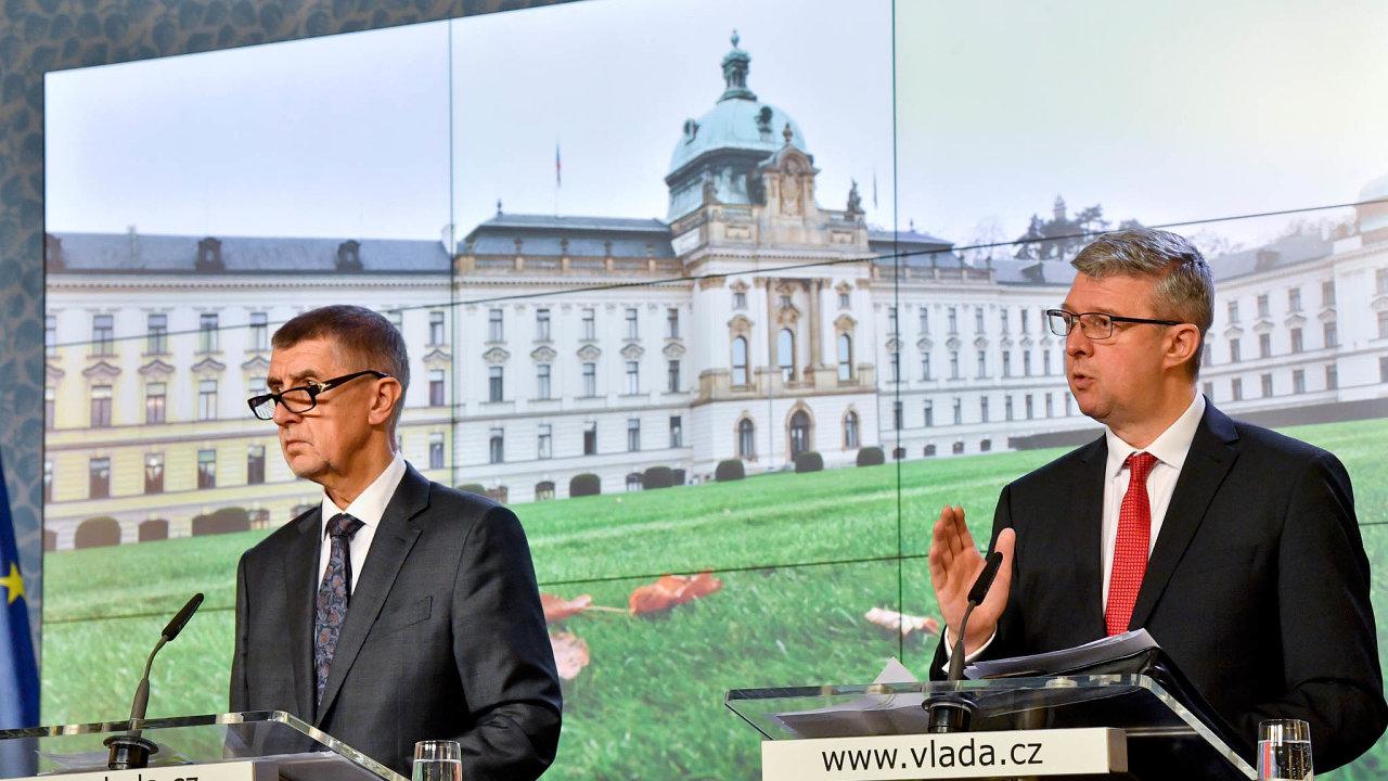 Premiér Andrej Babiš a ministr průmyslu a dopravy Karel Havlíček.
