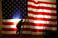 Americká vlajka, volební noc, listopad 2008